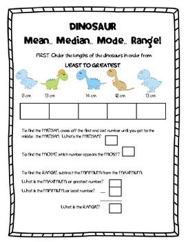 Mean, Median, Mode, Range Dinosaurs!