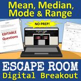 Math: Mean, Median, Mode & Range ESCAPE ROOM - Digital Breakout - NO PREP!