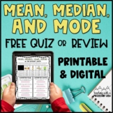 Mean Median Mode Range FREE Quiz and Answer Key
