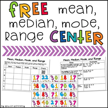 Mean, Median, Mode, Range FREEBIE