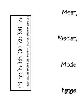 Mean, Median, Mode & Range Foldable