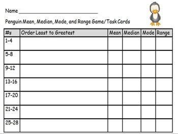 Mean Median Mode Range Game Cards