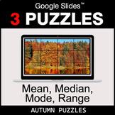 Mean, Median, Mode, Range - Google Slides - Autumn Puzzles