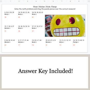 Mean Median Mode Range Google Slides Emoji Puzzles By Whooperswan