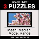 Mean, Median, Mode, Range - Google Slides - Spring Puzzles