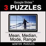 Mean, Median, Mode, Range - Google Slides - Winter Puzzles