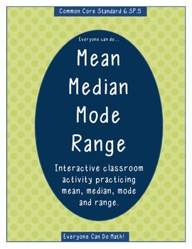 Mean Median Mode Range Interactive Activity