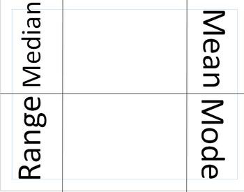 Mean Median Mode Range Interactive Notebook Foldable