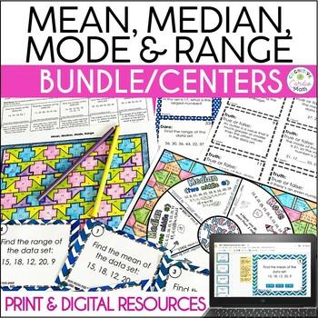 Mean, Median, Mode, Range Math Center Resources