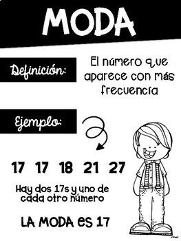 Mean, Median, Mode, Range Math posters in Spanish Black & White Easy Printing