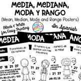 Mean, Median, Mode, Range Math posters in Spanish Black &