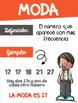 Mean, Median, Mode, Range Math posters in Spanish (Media, Mediana, Moda, Rango)