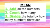 Mean, Median, Mode, Range Math visuals