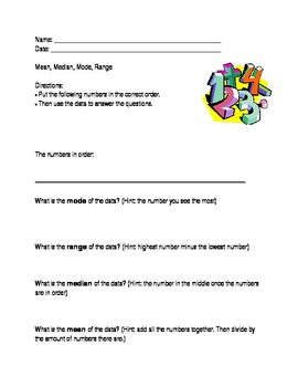 Mean, Median, Mode, Range; Modified Special Ed Math Template; Statistics