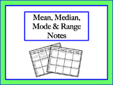 Mean, Median, Mode & Range Notes
