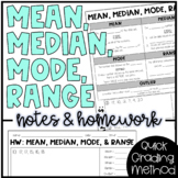 Mean, Median, Mode, Range, and Outlier - Notes and HW