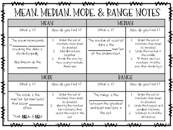 Mean, Median, Mode, & Range Notes and Practice Companion