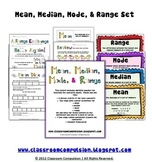 Mean Median Mode Range Pack (Math Centers, Flashcards, Anchor Charts)