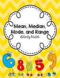 Mean, Median, Mode, Range Packet -- (Activites, Games, Tas