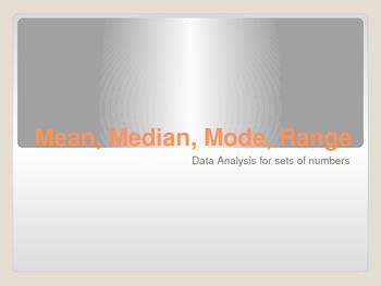 Mean, Median, Mode, Range Powerpoint