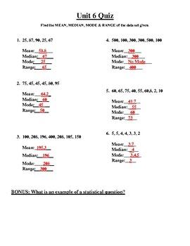 Mean, Median, Mode & Range Quiz