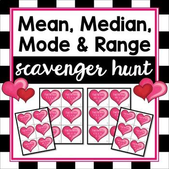 Mean, Median, Mode & Range Scavenger Hunt with Task Cards
