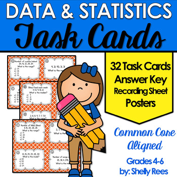 Mean, Median, Mode, Range Task Card and Poster Set - Data