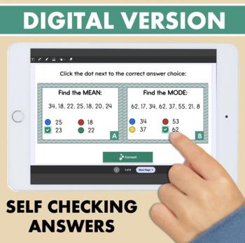 Measures of Central Tendency Mean Median Mode Range Task Cards
