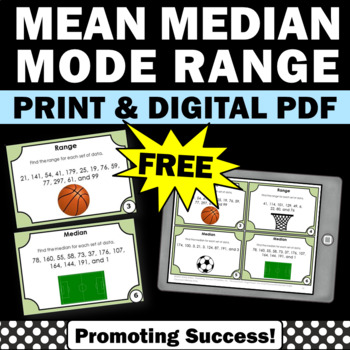 FREE Mean Median Mode Range Task Cards 5th 6th Grade Math Review Games