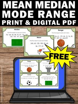 FREE Mean Median Mode Range Task Cards