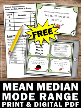 free mean median mode range task cards by promoting success tpt