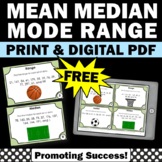 FREE Mean Median Mode Range Task Cards 6th Grade Math Distance Learning Games