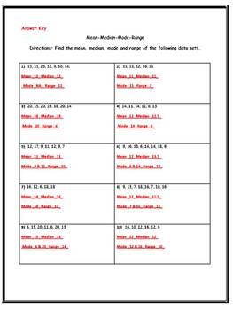 Mean Median Mode Range (Three Worksheets w/ Answer Keys)