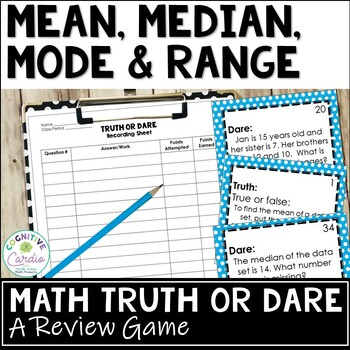 Mean, Median, Mode & Range Truth or Dare Math Game