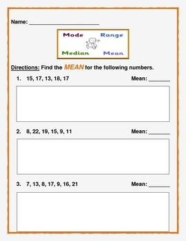 Math: Mean, Median, Mode, & Range.  Use separately or as a packet.