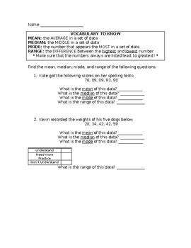 Mean Median Mode Range Worksheet