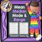 Mean Median Mode Range Worksheet with Answer KEY Measures of Center