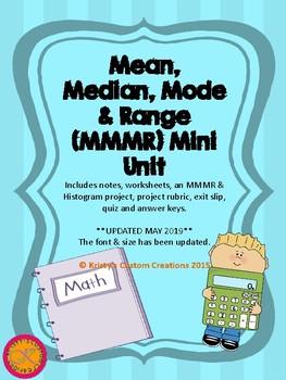 Mean, Median, Mode & Range- activity, project, worksheet,
