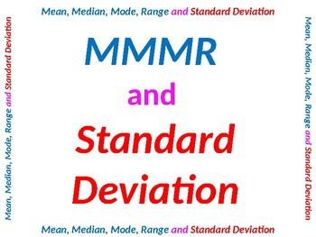 Mean, Median, Mode, Range and Standard Deviation Summary