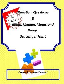 Mean, Median, Mode & Range and Statistical Questions Scavenger Hunt