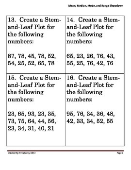 Mean, Median, Mode, Range, and Stem-and-Lead Plot Showdown Task Cards
