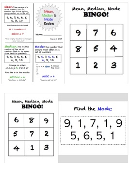 Mean Median Mode Review and Bingo Game