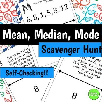 Mean, Median, Mode Scavenger Hunt Activity