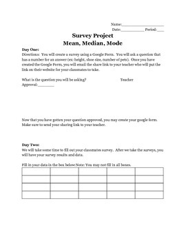 Mean, Median, Mode Survey Project