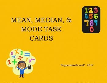 Mean, Median, & Mode Task Cards - Center Activity