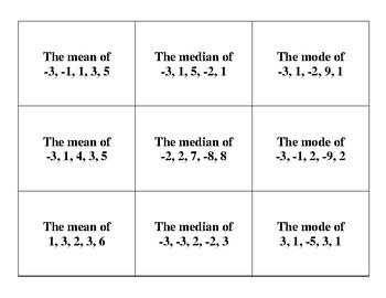 Mean Median & Mode War cards