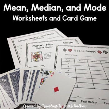 Mean, Median, Mode - Worksheets and Card Game