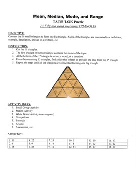 Mean, Median, Mode, and Range Game Puzzle with Worksheet