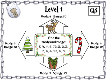 Mean, Median, Mode, and Range Activity: Escape Room Christmas Math Game
