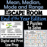 Mean, Median, Mode, and Range Activity: Escape Room End of Year Math Game